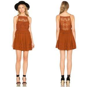 Free People Rust Copper Crochet Emily Mini Dress